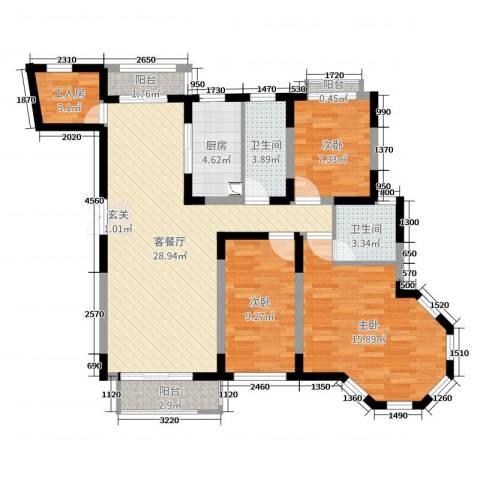 新加坡花园城3室2厅2卫1厨102.00㎡户型图