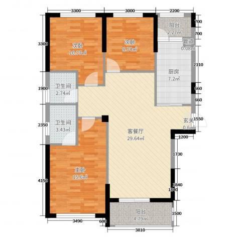 君怡花园3室2厅2卫1厨113.00㎡户型图