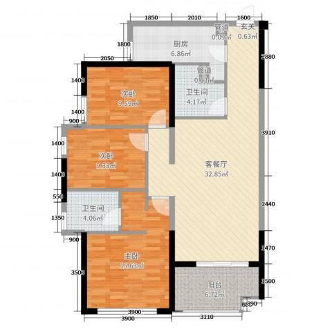 君怡花园3室2厅2卫1厨115.00㎡户型图