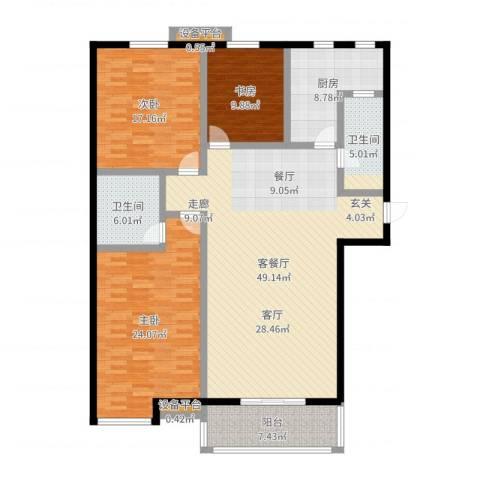 高新名门3室2厅2卫1厨161.00㎡户型图