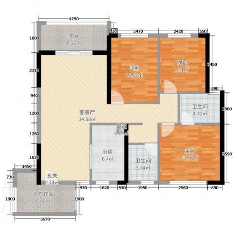 君怡花园3室2厅2卫1厨120.00㎡户型图