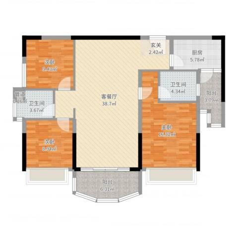 凯旋豪庭3室2厅2卫1厨122.00㎡户型图