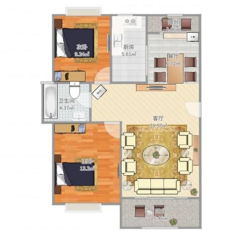 南洋瑞都2室1厅1卫1厨89.00㎡户型图