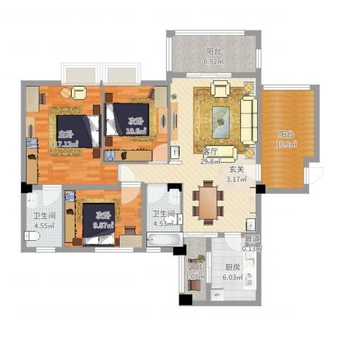 东方华尔街3室1厅2卫1厨129.00㎡户型图