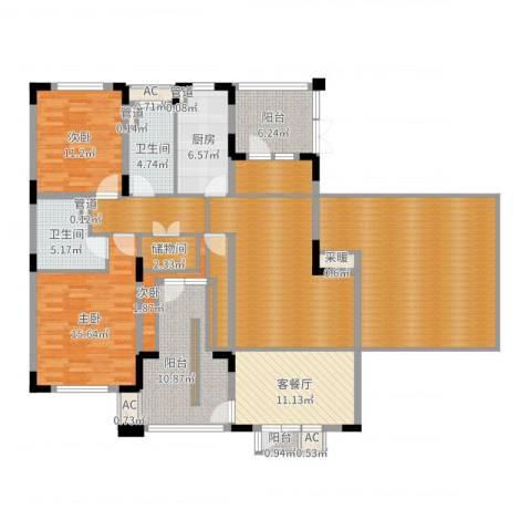 富奥新东区3室2厅2卫1厨175.00㎡户型图