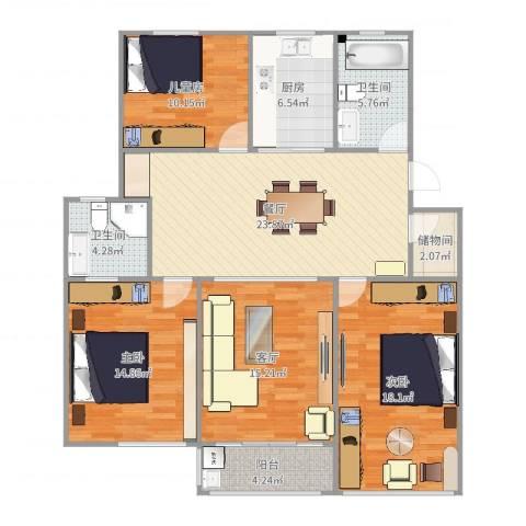 大桥一村3室2厅2卫1厨131.00㎡户型图