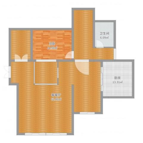 天伦随园1室2厅1卫1厨158.00㎡户型图