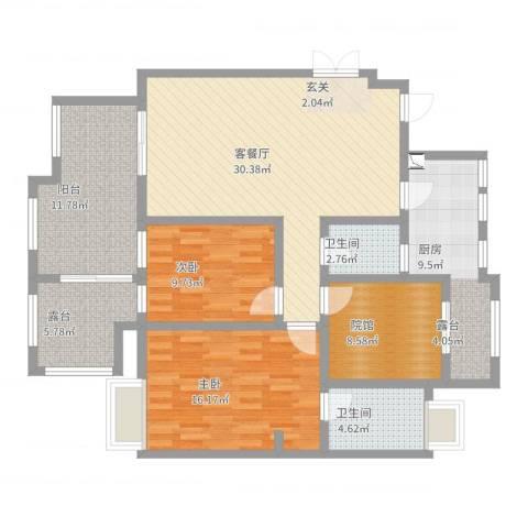 九鼎・御江山2室2厅2卫1厨124.00㎡户型图