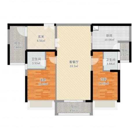 滨江一号2室2厅2卫1厨124.00㎡户型图