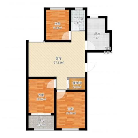 金玉豪庭3室1厅2卫1厨95.00㎡户型图