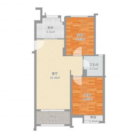 绿洲康城亲水湾2室1厅1卫1厨78.00㎡户型图
