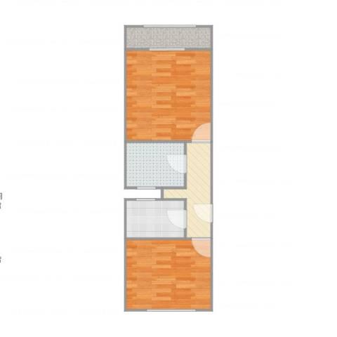 长虹小区2室1厅1卫1厨54.00㎡户型图