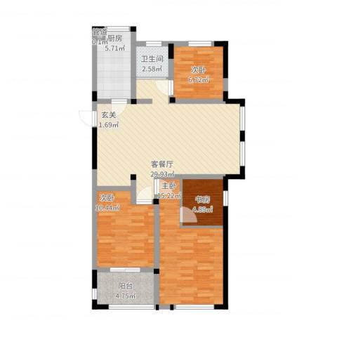 聚怡花园幸福小城4室2厅1卫1厨116.00㎡户型图
