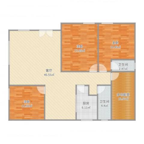 东明花园3室1厅2卫1厨143.00㎡户型图