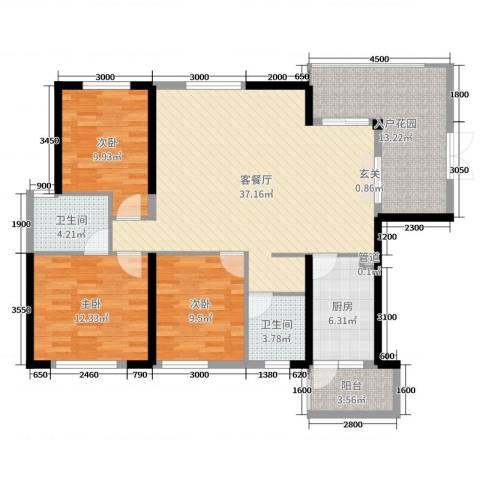 君怡花园3室2厅2卫1厨131.00㎡户型图