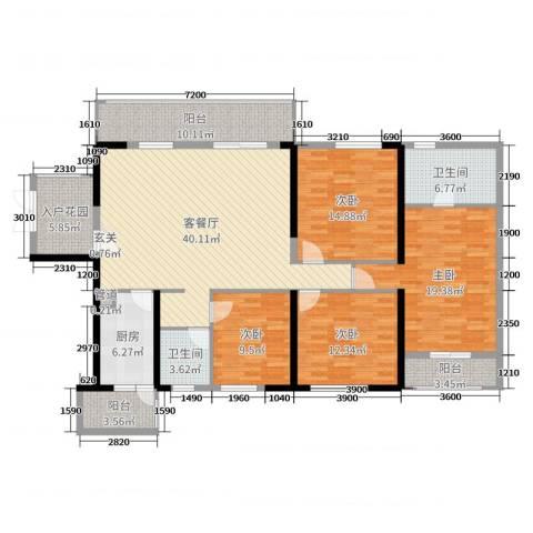 君怡花园4室2厅2卫1厨165.00㎡户型图