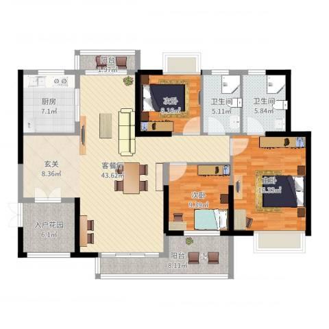 滨江豪园3室2厅2卫1厨140.00㎡户型图