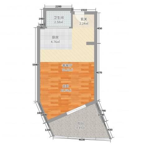 博鳌亚洲湾2厅1卫0厨52.00㎡户型图