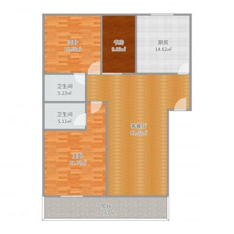 宝华家天下3室2厅2卫1厨156.00㎡户型图