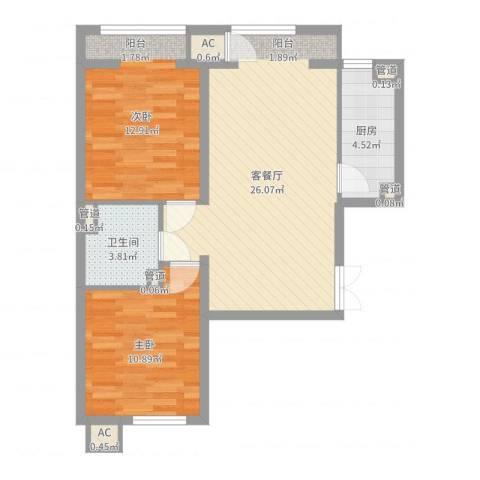 明天第一城7号院2室2厅1卫1厨75.00㎡户型图
