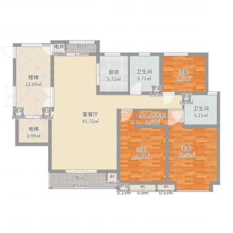碧龙江畔3室2厅2卫1厨160.00㎡户型图