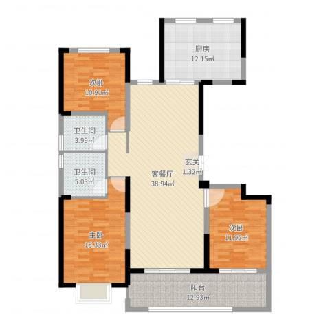 海门翠湖天地3室2厅2卫1厨139.00㎡户型图