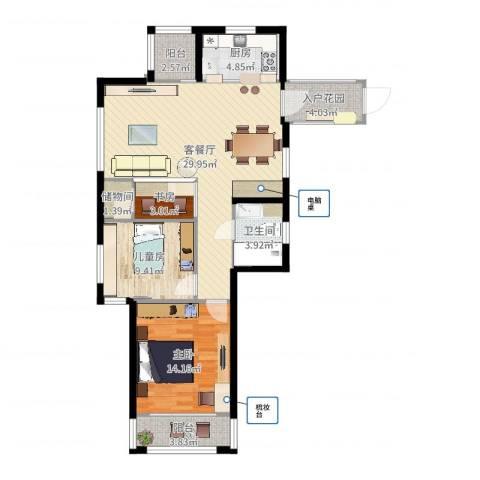 姚江上上城3室2厅1卫1厨96.00㎡户型图