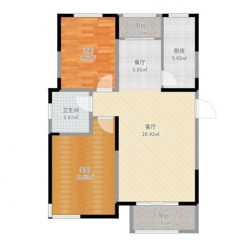 贻成豪庭2室1厅1卫1厨84.00㎡户型图