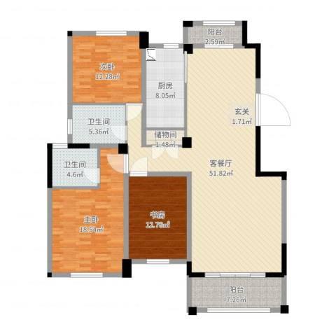 益兴名人湾3室2厅2卫1厨156.00㎡户型图