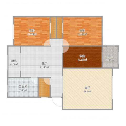 东方家园3室2厅1卫1厨138.00㎡户型图