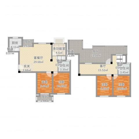 腾龙苑4室3厅2卫1厨159.00㎡户型图