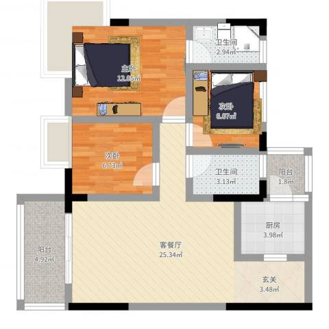 日高卡卡3室2厅2卫1厨84.00㎡户型图