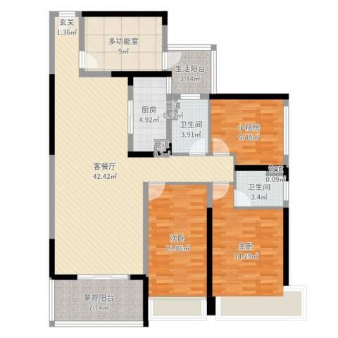 天峦湖2室2厅2卫1厨162.00㎡户型图