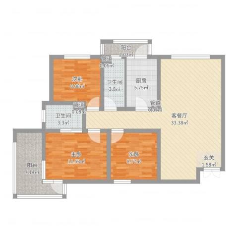 锦绣大地城一期3室2厅2卫1厨105.00㎡户型图