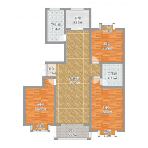 都市豪庭3室2厅2卫1厨151.00㎡户型图