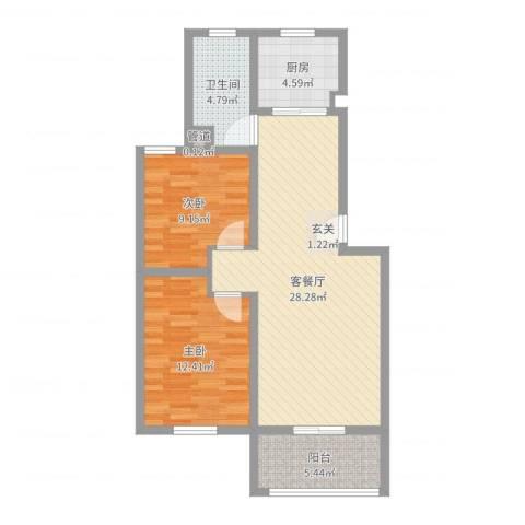 扬子家园2室2厅1卫1厨81.00㎡户型图