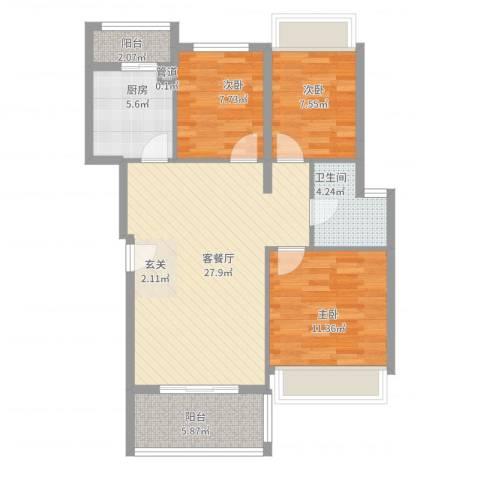 万科城市风景3室2厅1卫1厨103.00㎡户型图