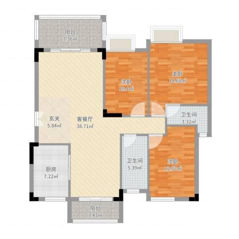 万科城市风景3室2厅2卫1厨143.00㎡户型图