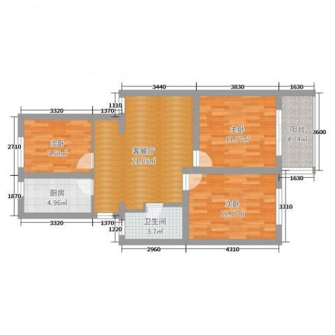 龙南六村3室2厅1卫1厨82.00㎡户型图
