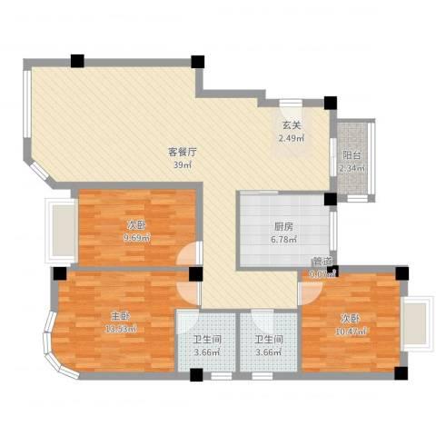 君廷湖畔3室2厅2卫1厨111.00㎡户型图