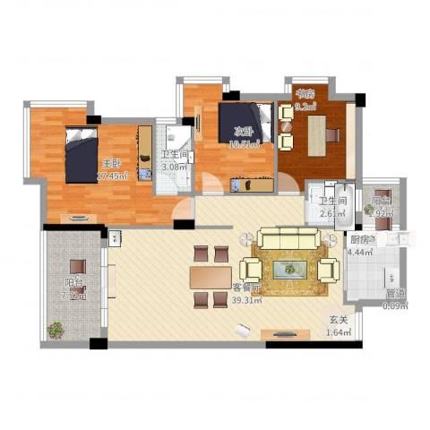 隆基天地广场3室2厅2卫1厨135.00㎡户型图