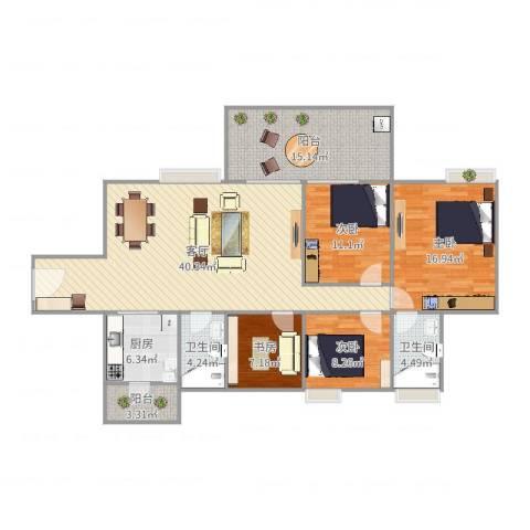 富和名都二期4室1厅2卫1厨147.00㎡户型图