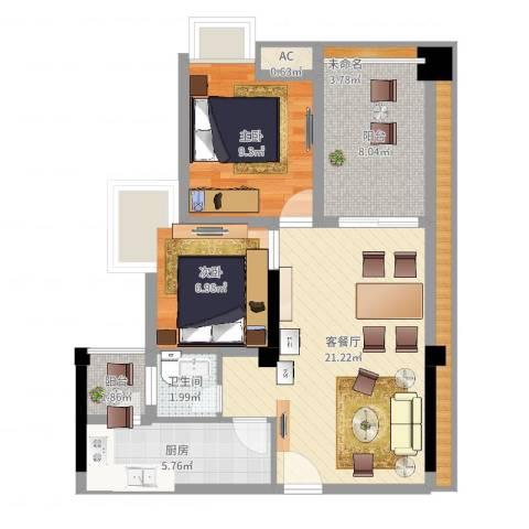 香榭国际2室2厅1卫1厨89.00㎡户型图