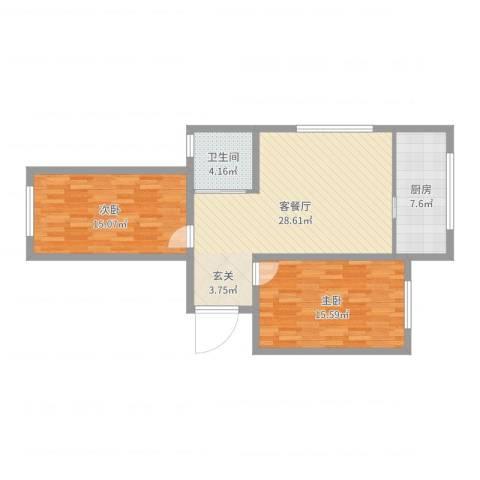 东亿・瑞馨佳园2室2厅1卫1厨89.00㎡户型图