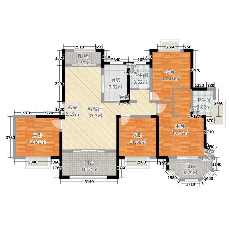 中南世纪花城163.00㎡46#楼C-2户型4室4厅2卫1厨