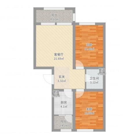 天盛名都2室2厅1卫1厨73.00㎡户型图