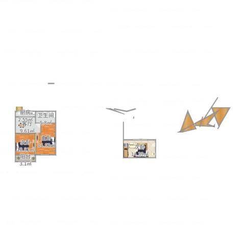 莲花公寓(普陀)3室1厅1卫1厨70.08㎡户型图