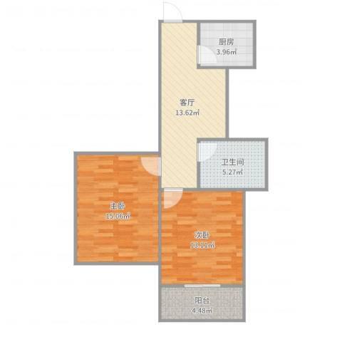 莲花公寓普陀2室1厅1卫1厨55.51㎡户型图