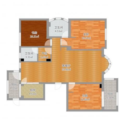 清水绿园3室2厅2卫1厨123.00㎡户型图