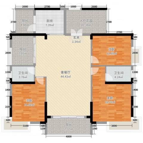 丽景湾上3室2厅2卫1厨163.00㎡户型图